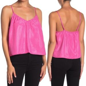 NSR Lisa Crop Dotted Strap Tank Cami Pink S O745